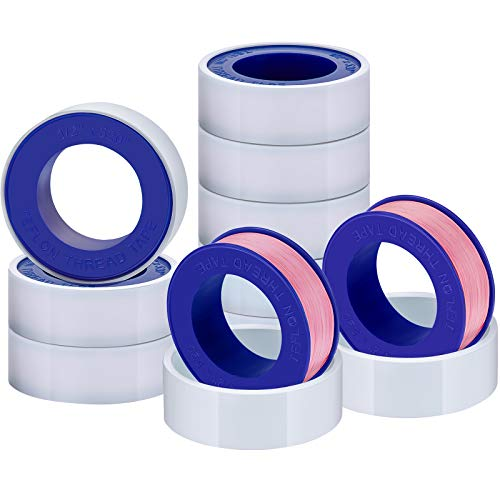 Skylety Thread Seal Tapes, PTFE Pipe Sealant Tape (1/2 by 520 Inches, Pink, 10 Rolls)