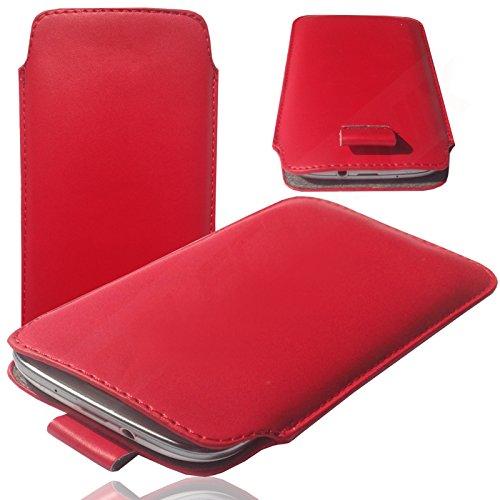 MOELECTRONIX 1A ROT Slim Cover Hülle Schutz Hülle Pull UP Etui Smartphone Tasche passend für Fantec Boogy
