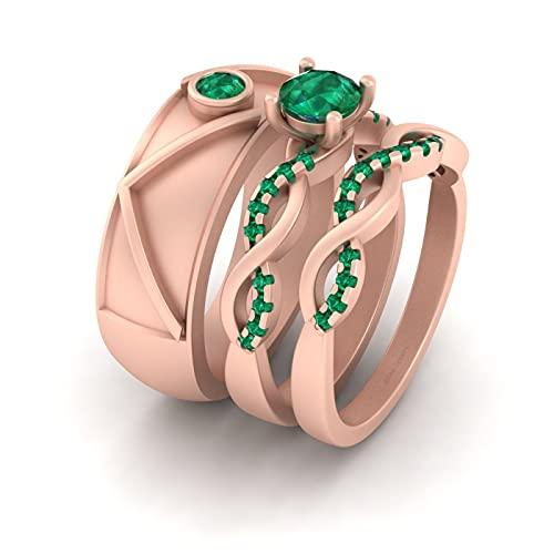 Anillo de plata de ley 925 de oro rosa para él y su promesa conjunto de anillos de pareja entrelazados verdes CZ a juego