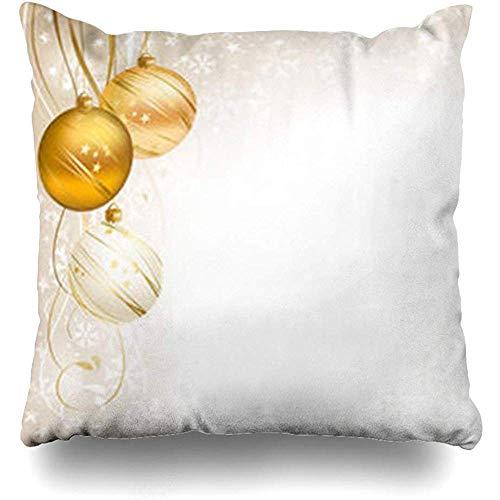 Ducan Lincoln Pillow Case Dekokissenbezug Hängen Beige Gold Schöne Weihnachten DREI Bälle Frohe Feiertage Weihnachtskugel Band Weiß Goldenes Quadrat Kissenbezug