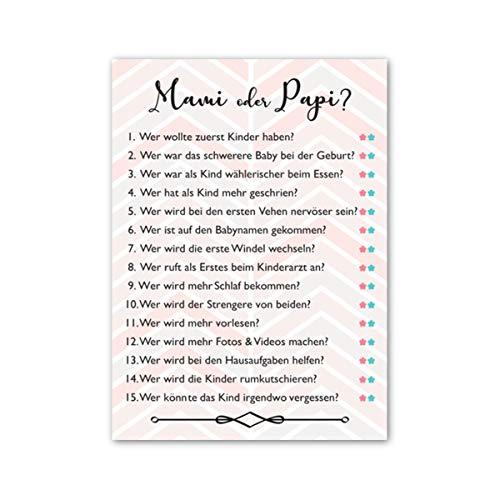 Pandawal Babyparty Spiele Mami oder Papi und Babynamen raten. Zwei lustige Baby Shower Partyspiele für Junge und Mädchen Deko Ratespiel (20 Spielkarten)…