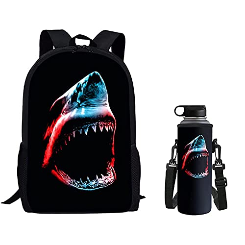 Belidome Bolsa escolar para niños, 500 ml, 2 unidades, tiburón, Taille unique