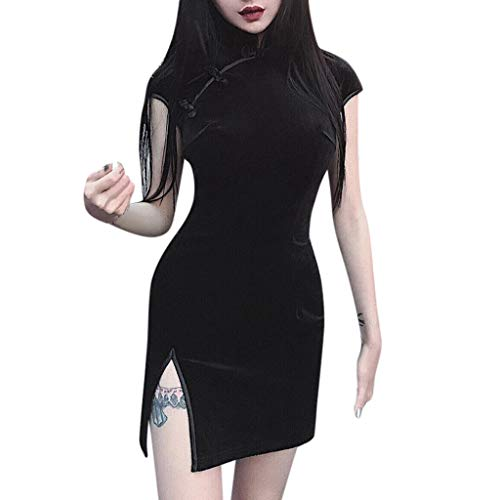 LUCKYCAT Gótico Vestido Chino de Cheongsam para Mujeres - Terciopelo Vestido Chino de la Mujer de Manga Corta Collar de Alta Hendidura Impresión Qipao Fiesta de Bodas Noche de Vestir Pijama Sexy