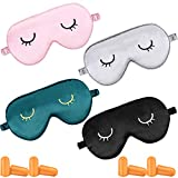 4 Pieces Sleep Eye Masks Silk Sleep Eye Cover Cute Lightweight Adjustable Eyeshade Mask Satin Night Eyeshade Covers with 4 Pairs Earplugs for Women Men Sleep Travel Nap