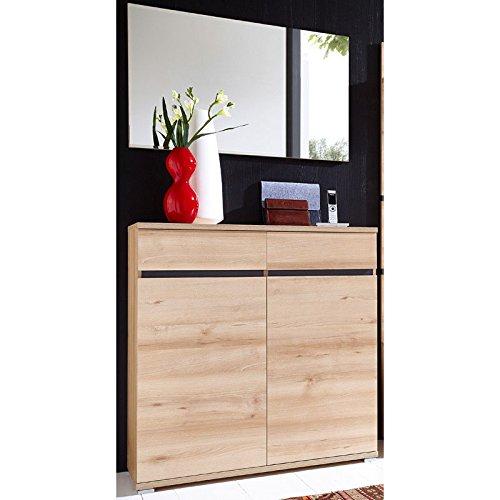 Lomado Garderoben Set 2-teilig ● Flurgarderobe Flurmöbel in Holzoptik Edelbuche ● Schuhschrank mit Softclose, Spiegel ● Made in Germany