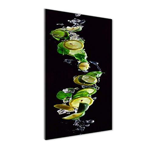 Tulup Impresión en Vidrio - 60x120cm - Cuadro sobre Vidrio - Pinturas en Vidrio - Cuadro en Vidrio - Impresiones sobre Vidrio - Cuadro de Cristal - Comidas Y Bebidas - Verde - Limas Y Limones