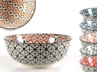 GICOS SRL Ciotola in Ceramica Tonda DECORI Assortiti 13X13X5.7CM Art. 720109