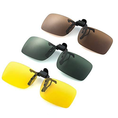 Comius Sharp 3 Piezas Gafas de Sol con Clip Polarizadas UV400 para Conducción y al Aire Libre (Amarillo Visión Nocturna + Marrón Oscuro + Verde Oscuro)