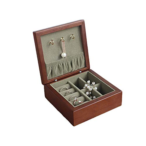 Jewelry Storage Box,Travel Earrings Rings Necklaces Portable Wooden Jewelry Boxes,with Mirror Or Hook Two Kinds,11X11x5cm,A