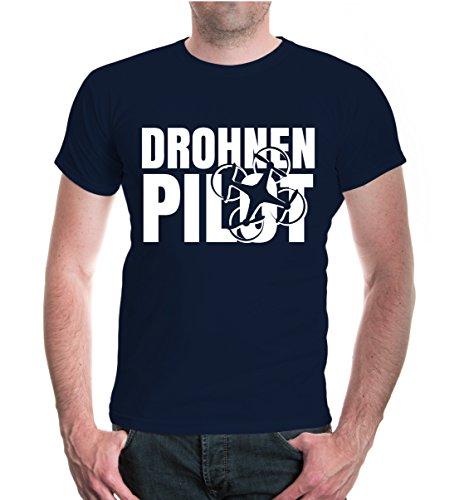 buXsbaum® Herren Unisex Kurzarm T-Shirt Bedruckt Drohnenpilot | Flugkörper Fluggerät Pilot | XL Navy-White Blau
