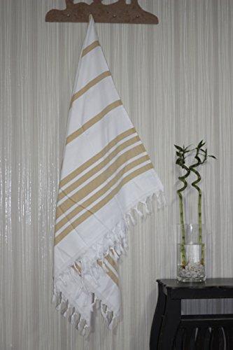 TROY Auténtica toalla de pestemal turca 100% algodón, diseño de rayas, tejido...
