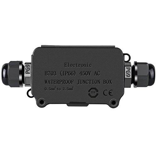 COOLWEST Vattentät kopplingsbox utomhus 2 kabel PG9 svart plast IP66 kontakt extern