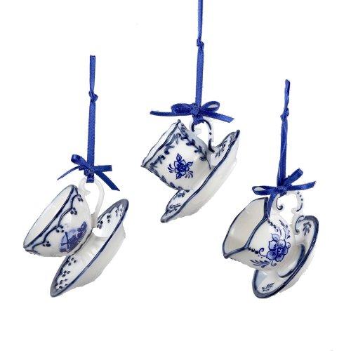 Kurt Adler 2' Porcelain Delft Blue Cup and Saucer Ornament Set of 3