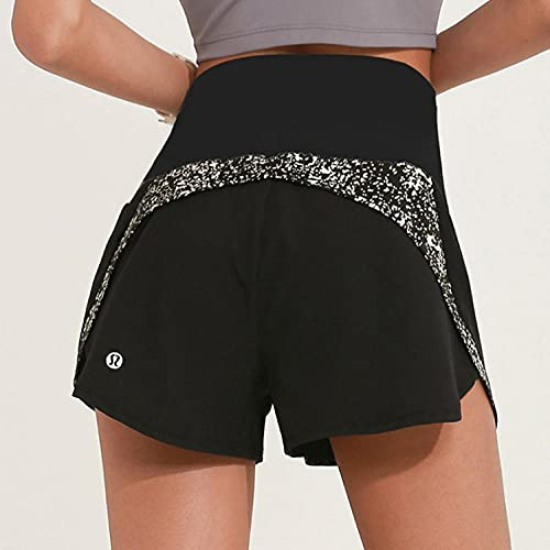 bayrick Mallas Push up Mujer Leggings,Pantalones Cortos de Yoga de Encaje de Taladro Caliente de Las Mujeres Pantalones Cortos Antideslizantes Falsos-1_L