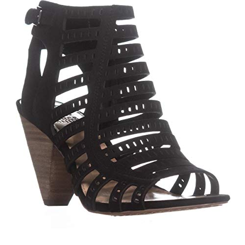 Vince Camuto Evalina Perforated Zip Up Sandals, Black