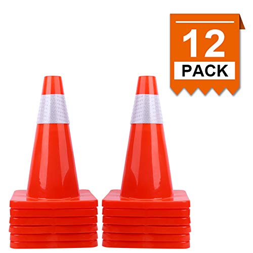 [ 12 Pack ] 18' Traffic Cones PVC Safety Road Parking Cones Weighted Hazard Cones Construction Cones for Traffic Fluorescent Orange w/4' Reflective Strips Collar