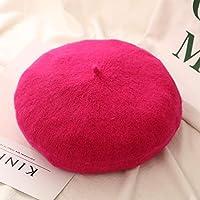 CENPEN ベレー帽 かわいい 21色の女性秋冬のベレー帽の帽子画家の帽子女性ウールヴィンテージベレッツソリッドカラーキャップ女性ボンネット暖かいウォーキングキャップ 春 夏 秋 冬 (Color : Rose red)