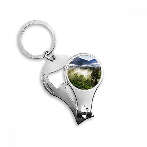Nebel Forstwirtschaft Wissenschaft Nature Scenery Metall Schlüsselanhänger Ring Multifunktions-Nagelknipser Flaschenöffner Auto Schlüsselanhänger Best Charm Geschenk