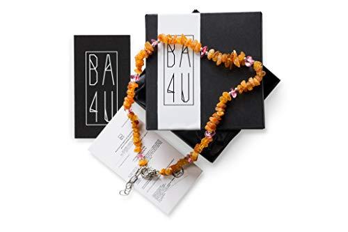 BA4U Bernstein Halsband RC Bernsteinkette für Hunde und Katzen ★ Zeckenhalsband mit Amethyst, Malachit, Sodalith und Rosenquarz ★ Zeckenschutz mit Edelsteine ★ (RC45-45cm, Pink)
