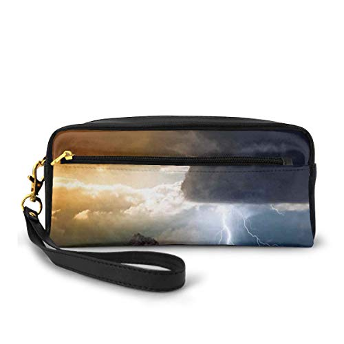 Pencil Case Pen Bag Pouch Stationary,Thunder Rays from Dark Clouds Hitting Down to The Mountain Storm Theme Art Print,Small Makeup Bag Coin Purse