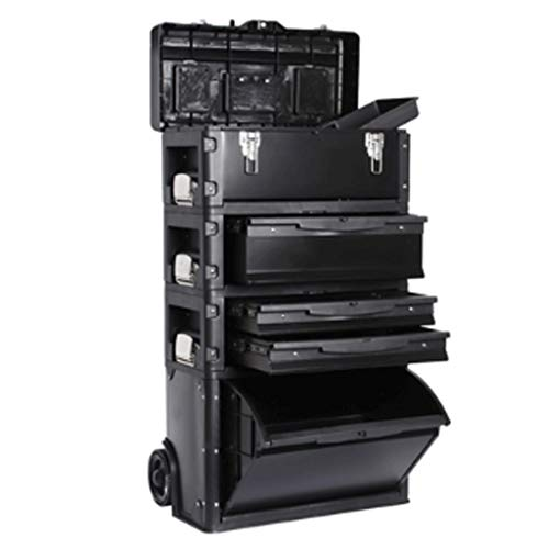 LZL Trolley Tool Boxes Four-Layer Combined Pull Rod Tool Box High Capacity Tool Chests Multifunction Aluminum Alloy Frame Toolbox (Color : Black)