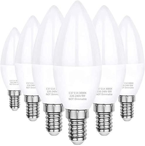 E14 LED Kerze Glühbirne, 6W ersetzt 60W, 550LM 3000K Warmweiß, C37 LED Brine Kleine Edison Schraube nicht dimmbar E14 Lampe warmweiss Opal Abdeckung Aluminium Innenstruktur, 6er-Pack