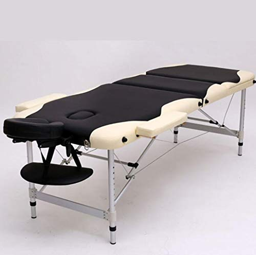 Find Bargain Massage Table, Beauty Bed 3 Section Foldable Height Adjustable Aluminum with Premium PU...