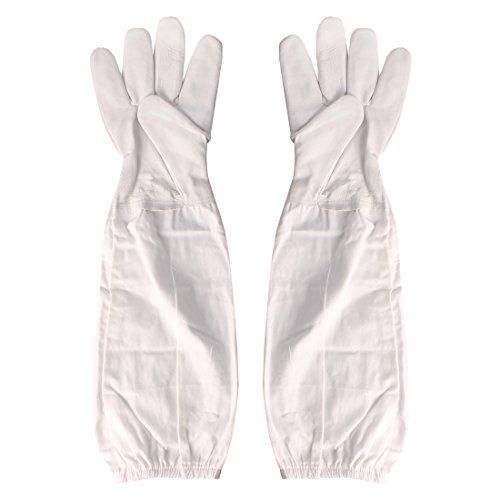 Andux 1 Paar Professionelle Bienenzucht Handschuhe Langarm-Schutzhandschuhe YFST-01 (L, Beige) MEHRWEG