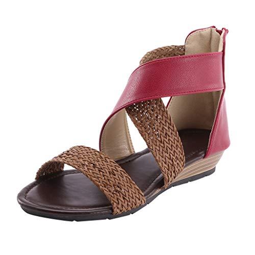 LuckyGirls Femmes Sandales Été 2020 Bohême Plage À Talons Bas Femmes Sandales Robe De Soirée Pas Cher À Bout Ouvert Chaussures Femmes Élégant Casual Confortable