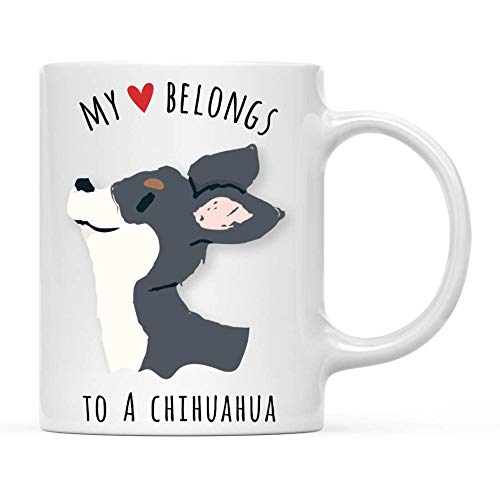Taza té cerámica uso prolongado Dog My HeBngs To A Jacket Chihuahua Dog Birthday Christmas s Dog Taza bebida café Regalo