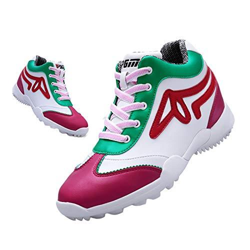 Zapatos de Golf Sin Tacos Impermeables para Mujer,Zapatillas de Golf de Piel de Microfibra Suave Aumentar Los Zapatos Casuales,Club Calzado de Entrenamiento de Golf