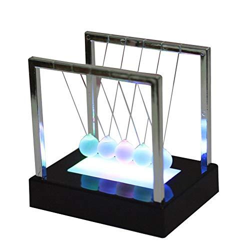 EZIZB Newton Pendel LED Licht Schaukel Kugeln Ornamente Balance Pool Physikalische Energieeinsparung Modell, Kugelspiel Pendel Metall Handwerk Wohnzimmer Dekor Geschenk Spielzeug