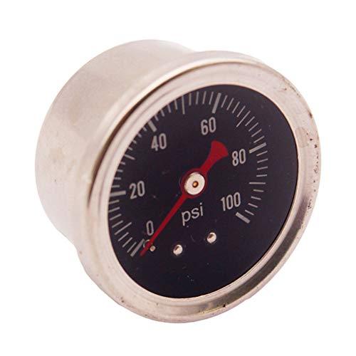 B Blesiya Manómetro Del Regulador de Presión de Combustible 0-100PSI / Bar Medidor de Combustible/Aceite Cromado de Llenado de Líquido