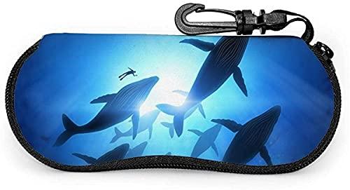Tcerlcir Estuche para gafas Blue Whale Fish-Horse Estuche suave para gafas de sol Estuche para gafas para mujeres y hombres, 17x8cm