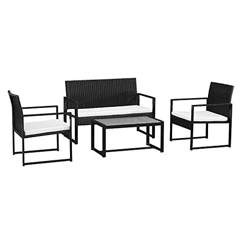 BENEFFITO CAPRERA - Muebles de jardín de Resina Trenzada con Cojines - Estructura de Acero - 4 plazas - Sofá de 2 plazas, 2 sillones, 1 Mesa de Centro Rectangular - Negro/Beige