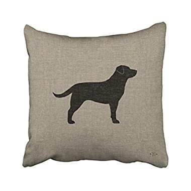 Emvency Throw Pillow Covers Black Labrador Silhouette Faux Style Decor Pillowcases Polyester 18 X 18 Inch Square Hidden Zipper Home Cushion Decorative Pillowcase