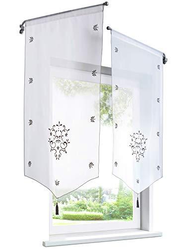 BAILEY JO 1Pièce Rideau Voilage Brise-bise en Polyester Broderie Fleurs avec Pompon Rideaux Courts Décoration de Fenêtre Chambre/Salle de Bain/Café/Cuisine (LxH/40x60cm, Gris/Blanc)
