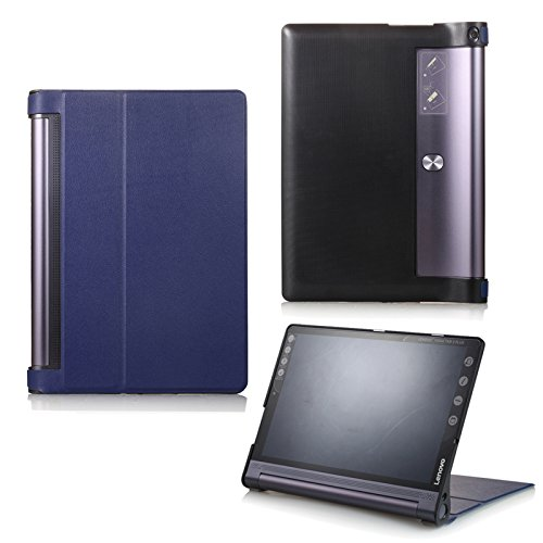 Schutz Hülle für Lenovo Yoga Tab 3 10 Plus YT-X703F/L & Lenovo Tab 3 10 Pro YT3-X90F aufstellbares Smart Cover Case mit Wake und Sleep Funktion (Blau) + GRATIS Stylus Touch Pen