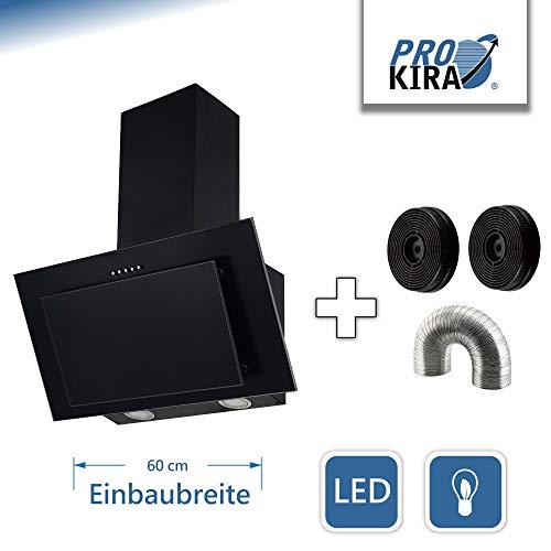 PROKIRA DH60 MB-01 Kopffreihaube Wandhaube Schräghaube Dunstabzugshaube Umluft Abluft Haube Schwarz LED 60 cm