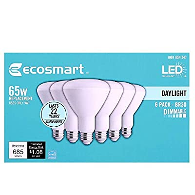 EcoSmart 65W Equivalent Day Light BR30 Dimmable LED Light Bulb (6-Pack)