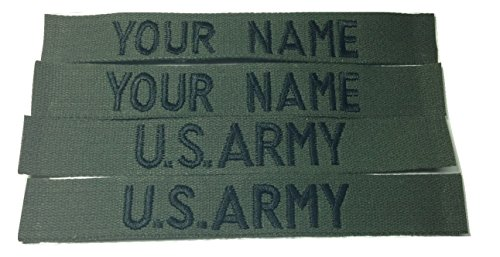 4 piece OD GREEN Name Tape & US Army USAF Police USMC Tape, Sew-On (without Fastener)