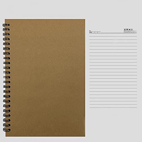 6 Paquete Cuaderno Tapa Kraft con Papel Rayado Bloc Notas Espiral Desmontable Sencillez Libreta para Office School Home Business Writing Tomando Nota,Marrón