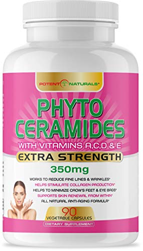 Phytoceramides 350mg 90 Servings with Vits A, C, D, E by POTENT NATURALS - Anti Aging Skin Vitamins, Boosts Collagen, Hydrates Skin, Reduces Wrinkles, Dark Circles - Hair, Skin, Nails Supplement