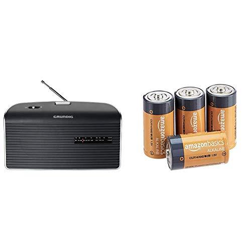 Grundig Music 60 Empfangsstarkes Radio im modernen Design grau & AmazonBasics - Everyday Alkalibatterien, Typ C, 4 Stück