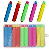 Heqishun 10 Piezas Porta Tizas, Soportes de Tiza de Colores Titular de Tizas para Niños Profesores Hogar Oficina y Escuela, con Caja de Almacenamiento (5 Colores)