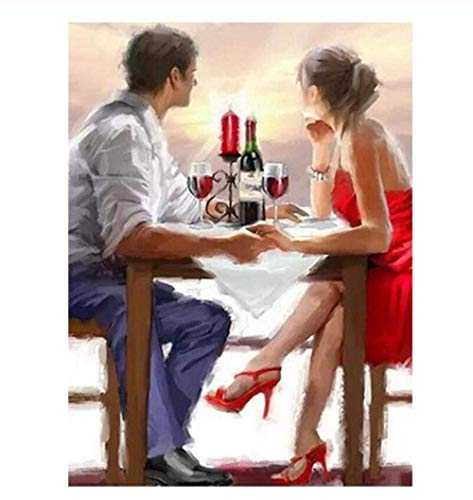 5D Diamond Painting Drawing DIY Romantic Couple Wine Sun Picture Gift Rhinestone Embroidery Cross Stitch Craft Home Wall Decoration 40X50 cm