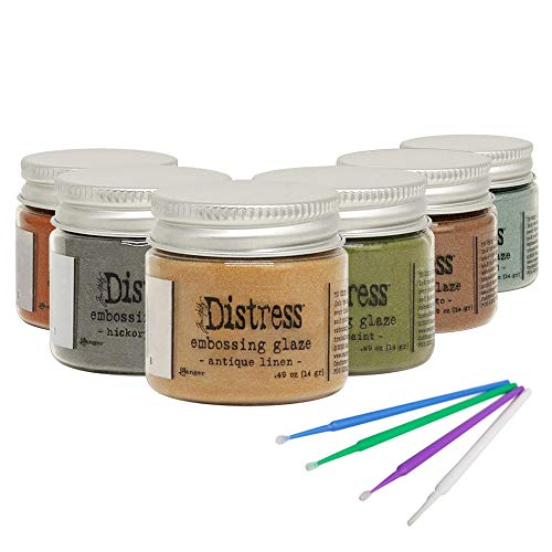 New Ranger Tim Holtz Distress Embossing Glaze - Includes PTP Flash Deals Blending Sticks (6 Bold Collection)