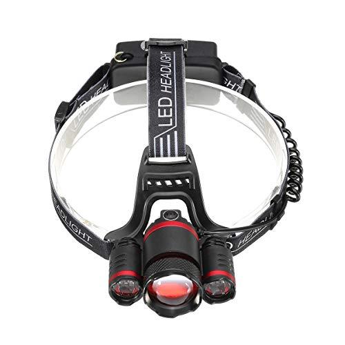 1500lm 3T6 Sensor de luz Ajustable Inteligente Bicicleta Faro de Bicicleta 5 Modos de Interruptor de interruptores Aloje LED luz (Color : Black Red)