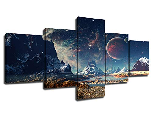 Rustic Home Decor Abstract Pictures for Living Room Alien Planet Paintings 5 Piece Canvas Wall Art Decor Artwork Modern Giclee Wooden Framed Stretched Ready to Hang Posters and Prints(50''Wx24''H)