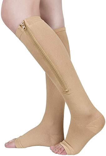 ASPCOK (2 pares) 15-20 mmHg Calcetines médicos de compresión con cremallera Soporte de pierna con cremallera Unisex Rodilla abierta (Beige, L/XL)